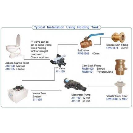 j10 126 jabsco quiet flush salt water toilet 24v standard compact rh muirmarine com Water Pump Wiring Diagram Water Pump Wiring Diagram